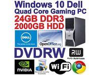 Windows 10 Dell Quad Core Gaming Tower PC Computer - 24GB DDR3 - 2000GB HDD HDMI