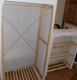 Canvas Wardrobe and Shelves (good condition) £25 collection only