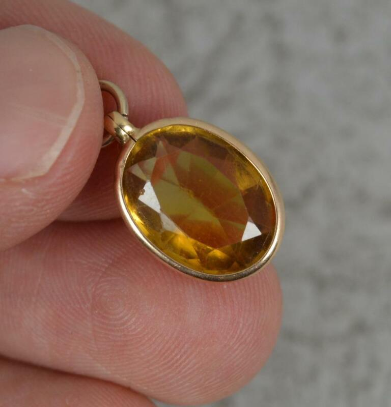 Edwardian 9 Carat Gold and Oval Citrine Pendant Charm