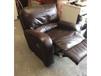 ** BROWN LEATHER RECLINER ARMCHAIR **