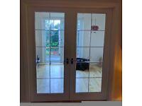 White internal doors - wood frame - glass