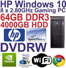 HP Z800 Workstation PC 2 x Quad Core Xeon 64GB RAM 4000GB HDD Windows 10 HDMI