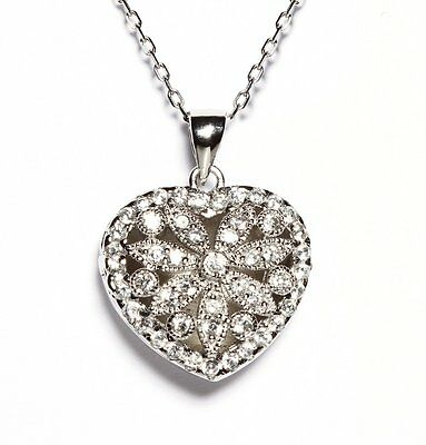 Fancy Puffed Heart - Pave Fancy Photo Puffed Heart 5A CZ Sterling Silver Necklace-Pendant 925/SS