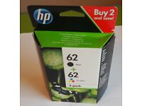 BRAND NEW BOX HP 62 TRICOLOUR AND BLACK INK