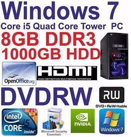 Windows 7 Core i5 Quad Core HDMI Gaming Tower PC 8GB DDR3 - 1000GB HDD DVDRW