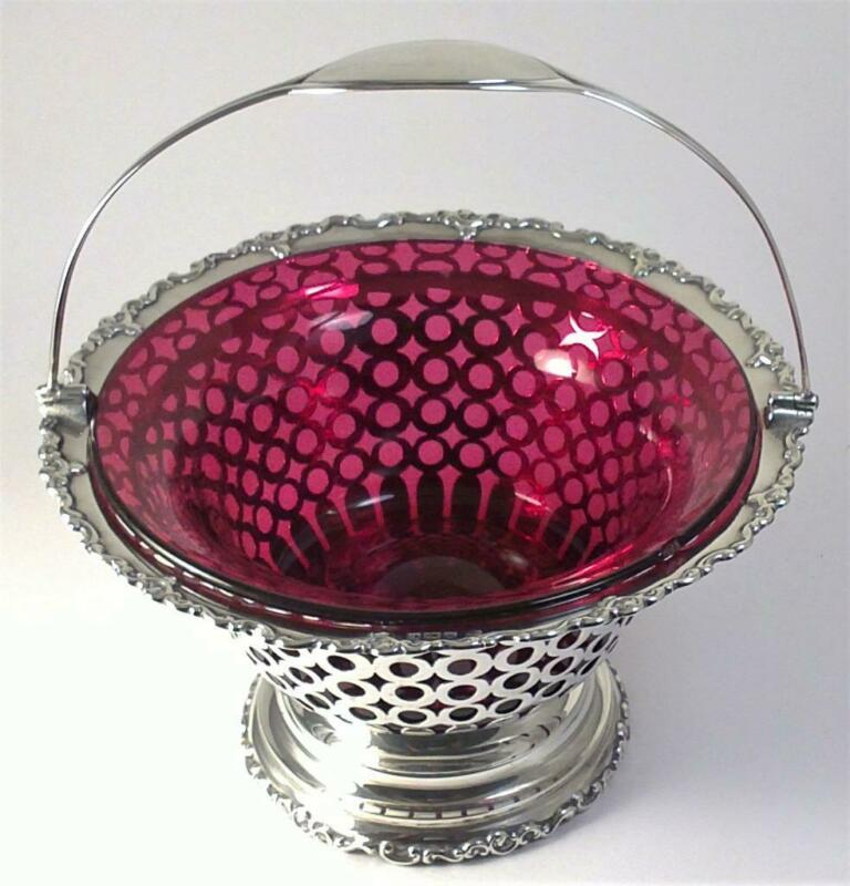 Antique hallmarked Sterling Silver Sugar Basket & Cranberry Liner – 1907 (520g)