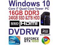 Windows 10 Core i7 Quad Core Gaming Tower PC - 16GB DDR3 - 240GB SSD & 2TB HDD.