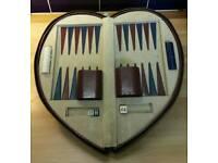 Vintage Back-Gammon Set. Heart shaped case.