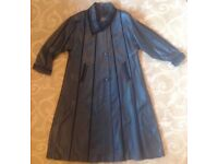 Beautiful Black Soft Leather A-Line Maxi Coat with Suede Insets and Trims