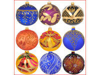 Details about 6 Glass Christmas Baubles Handmade & Painted Balls Ball Tree Decorations Set 2