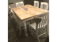 Beautiful shabby chic dining table and 6 chairs