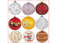 Details about 6 Glass Christmas Baubles Handmade & Painted Balls Ball Tree Decorations Set 4