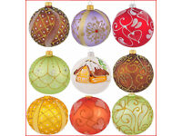 Details about 6 Glass Christmas Baubles Handmade & Painted Balls Ball Tree Decorations Set 3