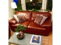 3+2 genuine brown leather sofa