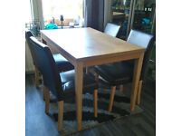 Dining Table Wooden and Four Chairs Wood with Faux Leather Chairs