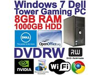 Windows 7 Dell Core 2 Duo Gaming Tower PC Computer - 8GB RAM - 1TB HDD - Wi-Fi
