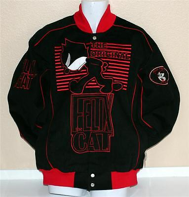 FELIX THE CAT TV Show Cartoon Character Varsity Style ADULT COTTON JACKET New - Adult Cartoon Cat