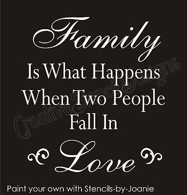 Joanie Stencil Family Happens Two People Fall Love Country Prim Home signs
