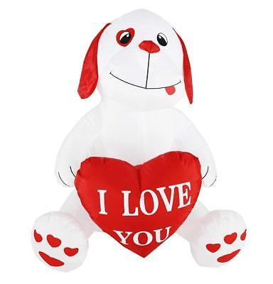4 ft Valentinstag LED Beleuchtet Hündchen Herz Aufblasbar Außen Yards Dekor