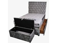 Crushed velvet divan bed - Single