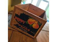 Vintage wooden storage Crate / poppy pears