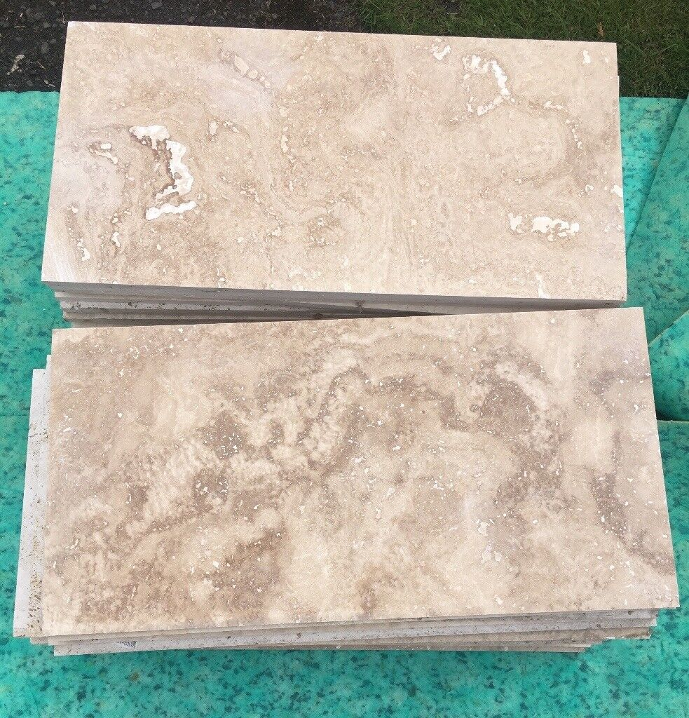 8 sq m natural stone travertine tiles. Still for sale in B&Q | in ...