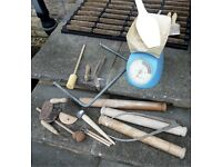 Pottery tools, glazes and assorted tools