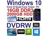 Windows 10 Core i5 QuadCore HDMI Gaming Tower PC 16GB DDR3 -128GB SSD&2000GB HDD