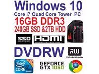 Windows 10 Core i7 Quad Core Gaming Tower PC - 16GB DDR3 - 240GB SSD & 2TB HDD