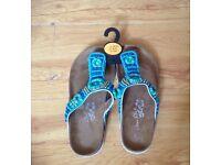New Beautiful Blue Beaded Sandle Size UK 4 / EU 37