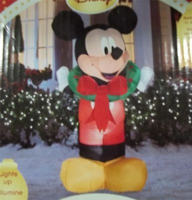 Gemmy Christmas Disney Mickey Mouse Wreath Airblown Inflatable 5.5 Ft Tall