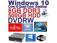 Windows 10 Fujitsu Quad Core i5 4x2.90 Gaming Tower Computer - 8GB DDR3 - 500GB