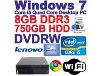 Lenovo Desktop / Gaming PC - Intel Core i5-2400 Quad Core - 4 x 3.10GHz ideal xmas gift