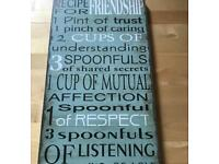 RECIPE FOR FRIENDSHIP WOODEN PLAQUE - GREAT CONDITION -