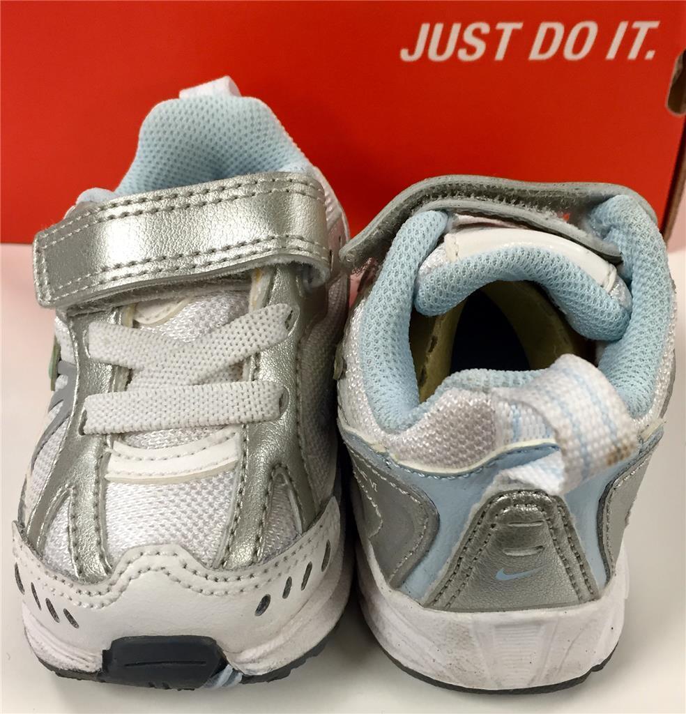 Nike LITTLE DART 6 White & Metallic Silver Baby Tennis Shoes NEW ~ Sizes 2c & 3c 1