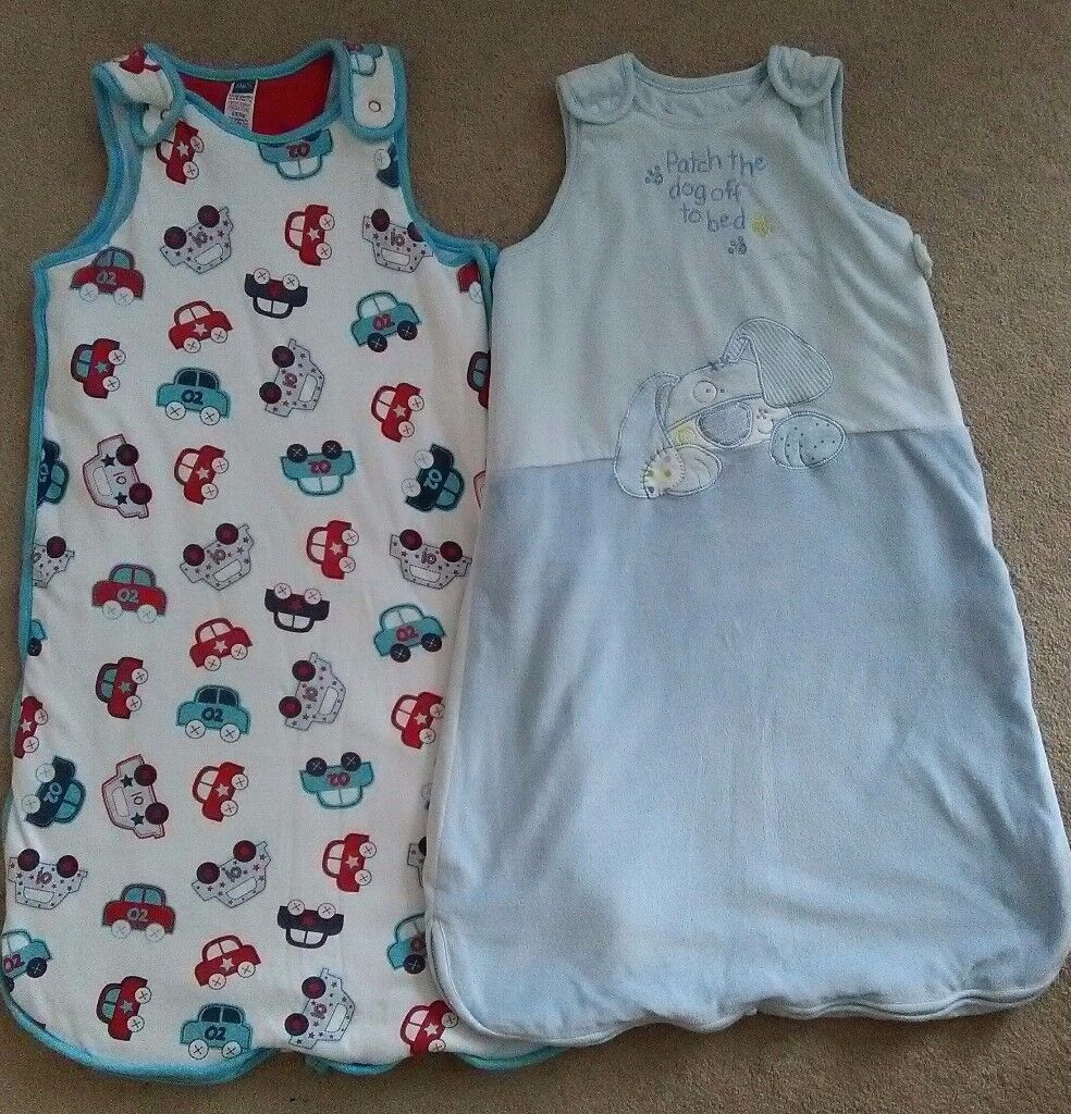 Two baby sleeping / gro bags, 2.5 tog, 6-12 months