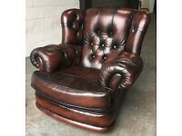 Ox Blood Red leather Chesterfield Wingback chair WE DELIVER UK WIDE