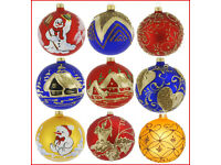 Details about 6 Glass Christmas Baubles Handmade & Painted Balls Ball Tree Decorations Set 1