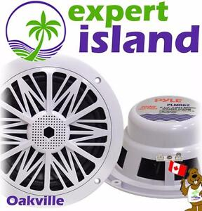 Pyle PLMR62 Dual 6.5'' Water Resistant Marine Speakers, 2-Way Stereo Sound, Built-in Tweeters, 200 Watt, White