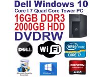 Windows 10 Quad Core i7 Gaming Tower PC - 16GB DDR3 - 2000GB HDD - DVDRW - HDMI