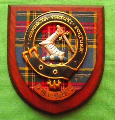 Vintage Nice Scottish Carved Oak Clan MACBETH Tartan Plaque Crest Shield