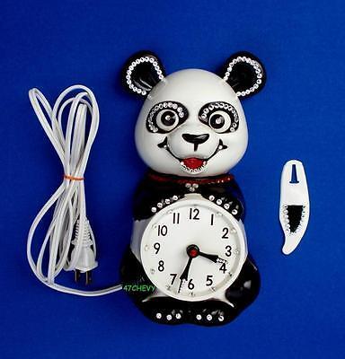 1960's VINTAGE PANDA BEAR ELECTRIC KIT CAT KLOCK-KAT CLOCK-RETRO-ORIGINAL-WORKS