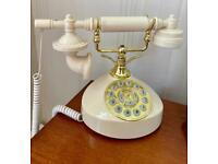Retro dial corded telephone - cream & gold