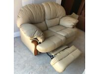 CAN DELIVER- CREAM LEATHER 2 SEATER RECLINER RECLINING SOFA
