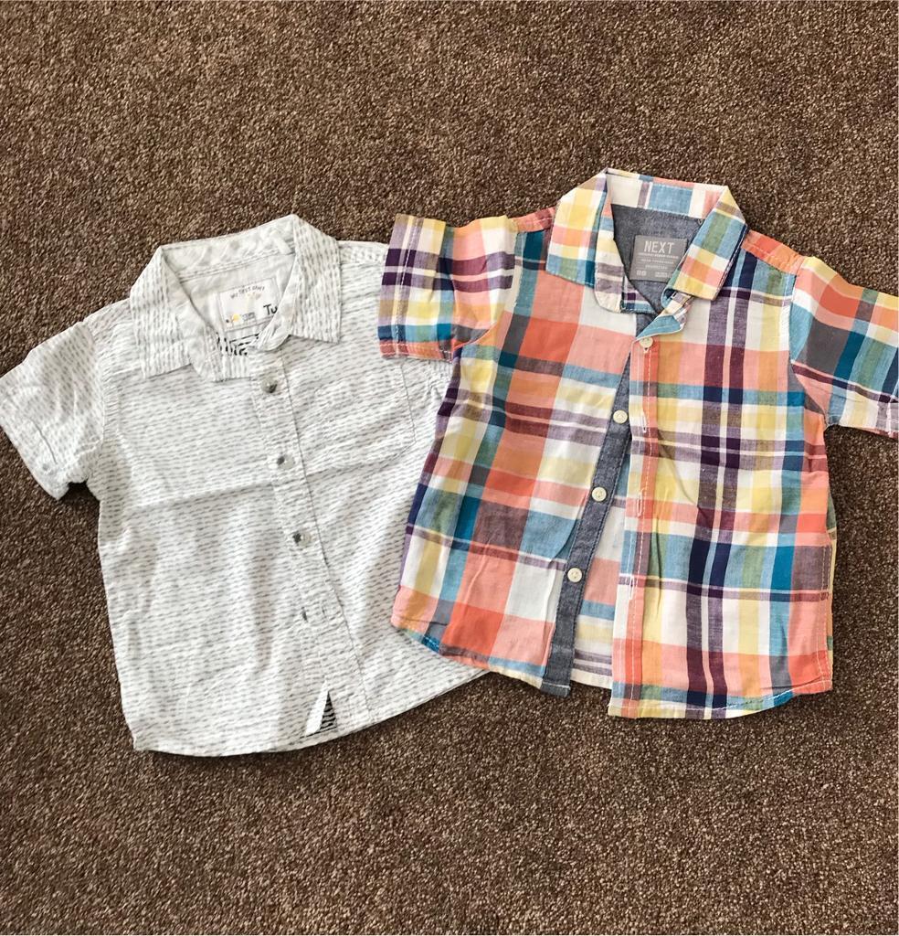 7f2977112 2 short sleeve summer shirts 12-18 months