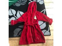 Like new Red hooded dressing gown age 5-6 yrs