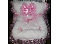 BEAUTIFUL HANDMADE PRAM BLANKETS, CHARMS, MOSES BASKETS DRESSED