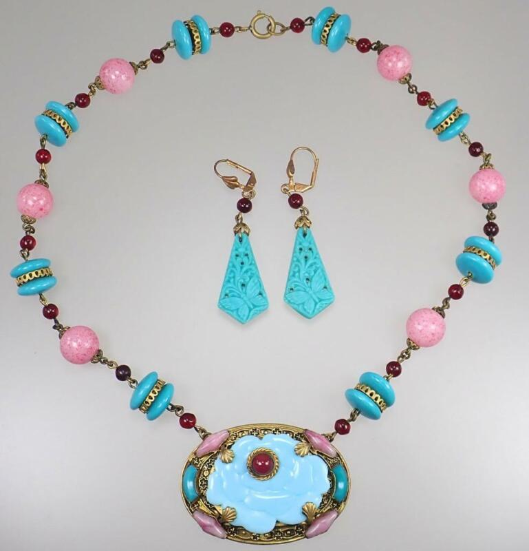 Vintage Czech Turquoise Pink Floral Butterfly Glass Bead Necklace Earring Set