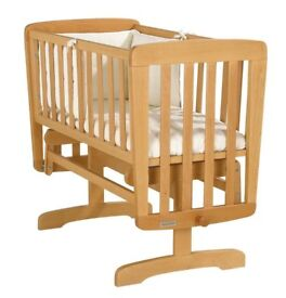 MAMAS & PAPAS Rocking GLIDING BABY CRIB First Cot - Natural BEECH WOOD includes Mattress *Like New*