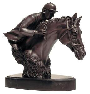Bronze Sports Metal Art Sculpture Jockey Horse Racing Kentucky Derby Bust Statue